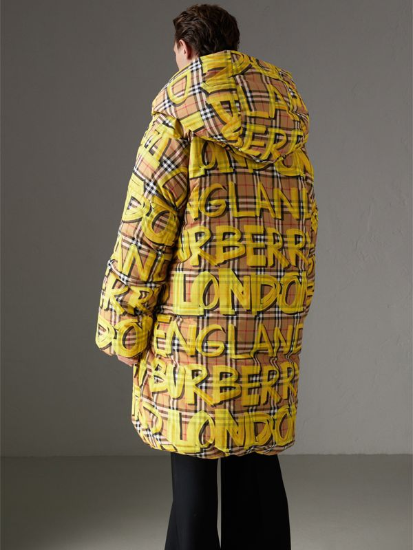 Graffiti Vintage Check Down-filled Puffer Coat in Bright Yellow | Burberry - cell image 2