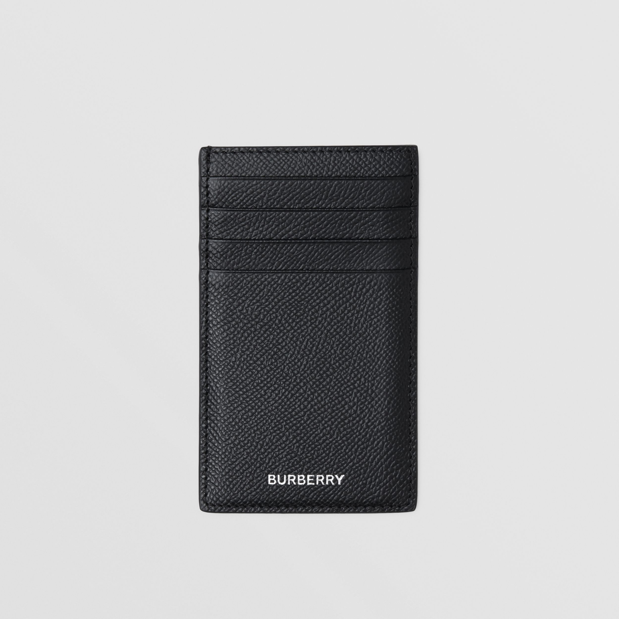 Grainy Leather Card Case in Black - Men | Burberry Hong Kong S.A.R. - 1