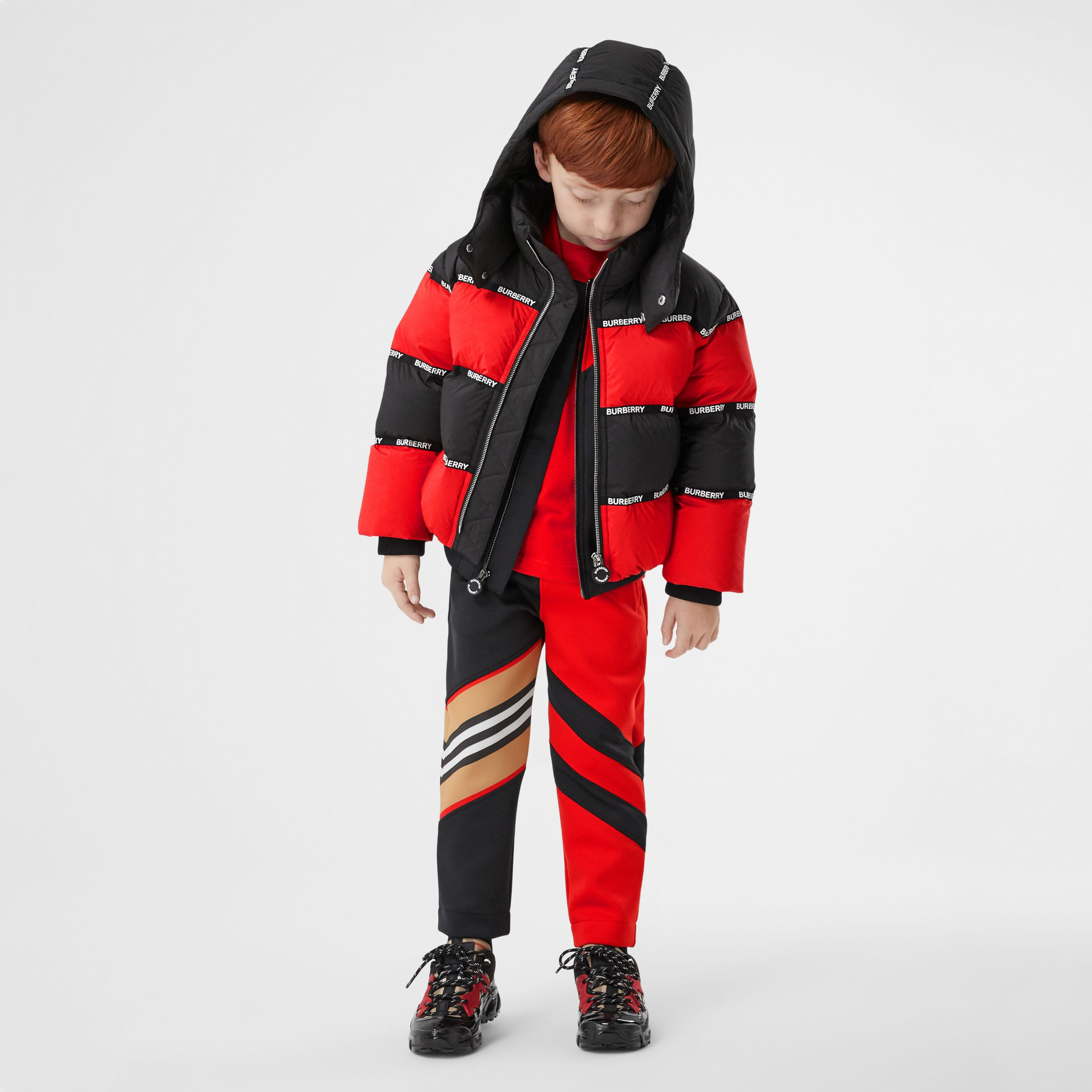 Logo Tape Striped Hooded Puffer Jacket | Burberry Canada - 3