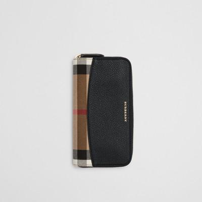 Burberry - Portefeuille zippé en tissu House check avec éléments en cuir - 1