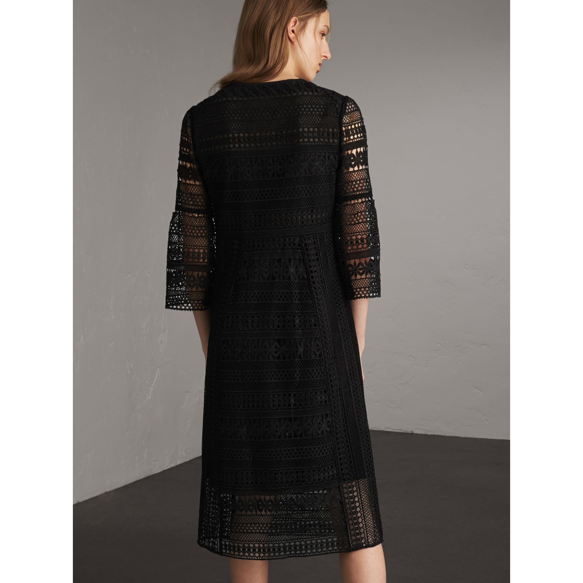 Puff-sleeve Macramé Lace Dress in Black - Women | Burberry - gallery image 3