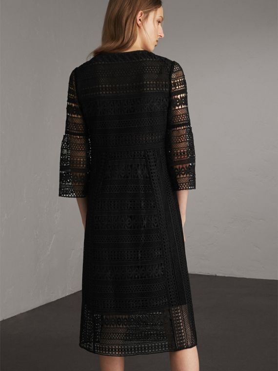 Puff-sleeve Macramé Lace Dress in Black - Women | Burberry - cell image 2