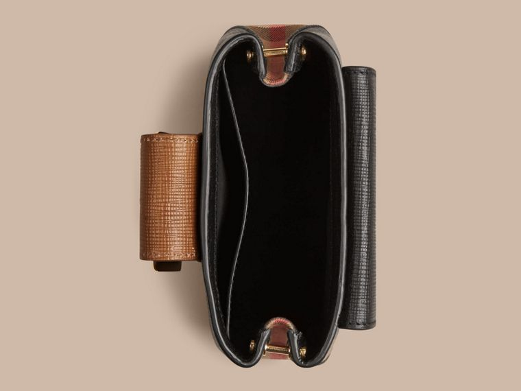 Nero Borsa The Buckle quadrata piccola in pelle e motivo House check Nero - cell image 4