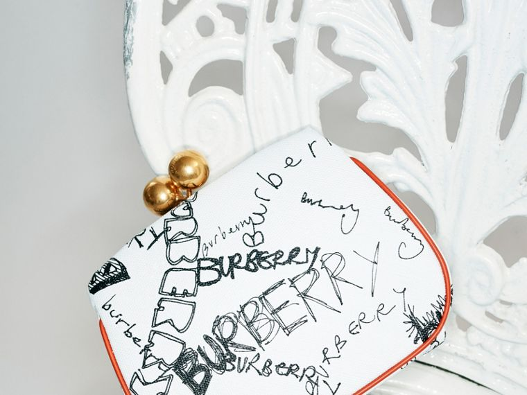 Small Doodle Print Metal Frame Clutch Bag in White/orange Saffron - Women | Burberry - cell image 4