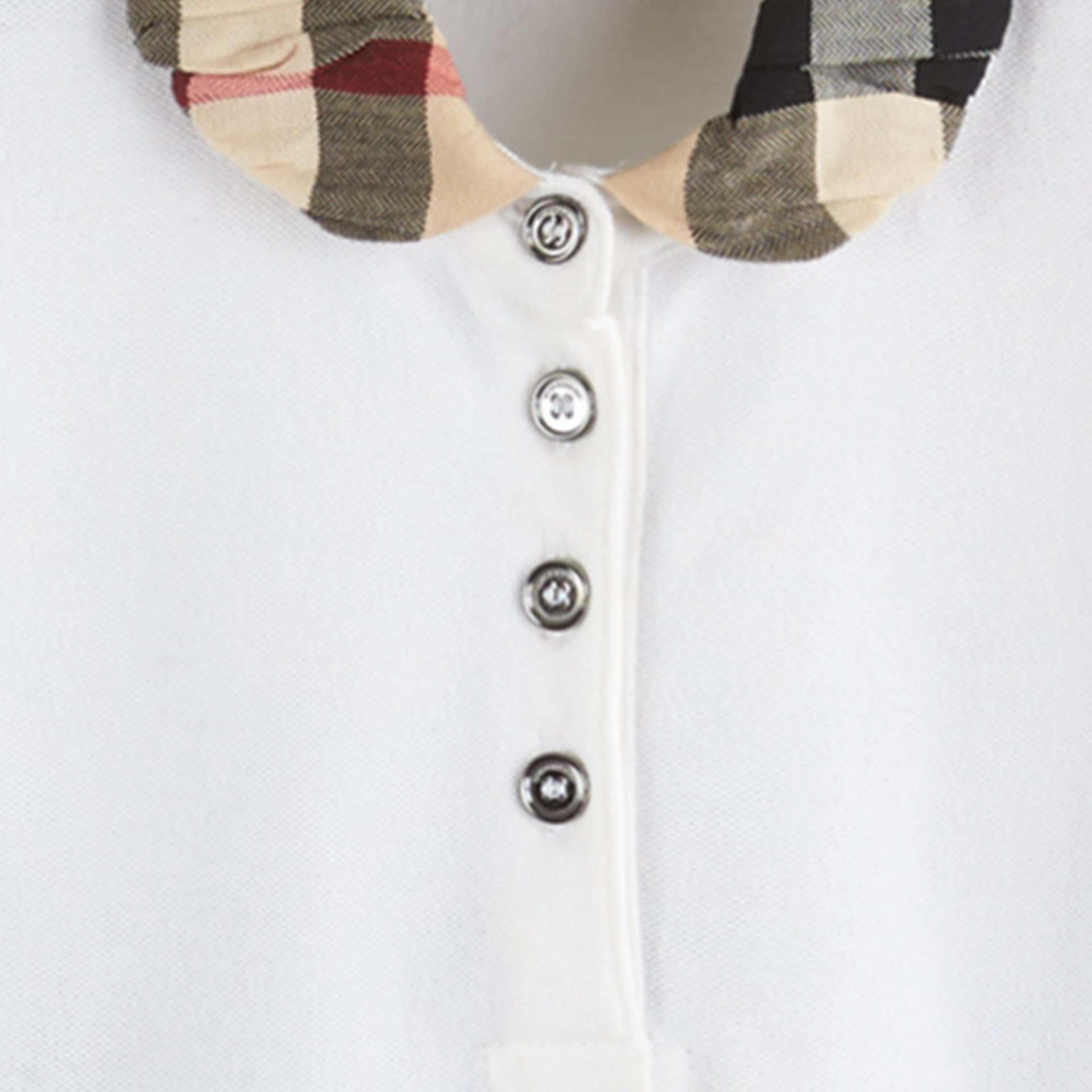 White Check Collar Polo Shirt - gallery image 2