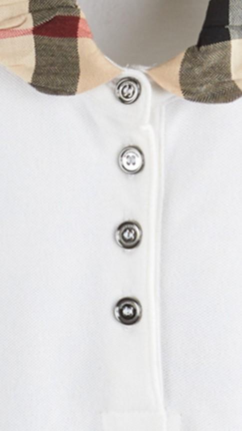 White Check Collar Polo Shirt - Image 2