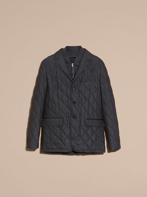 Charcoal Quilted Wool Jacket with Detachable Warmer - cell image 3