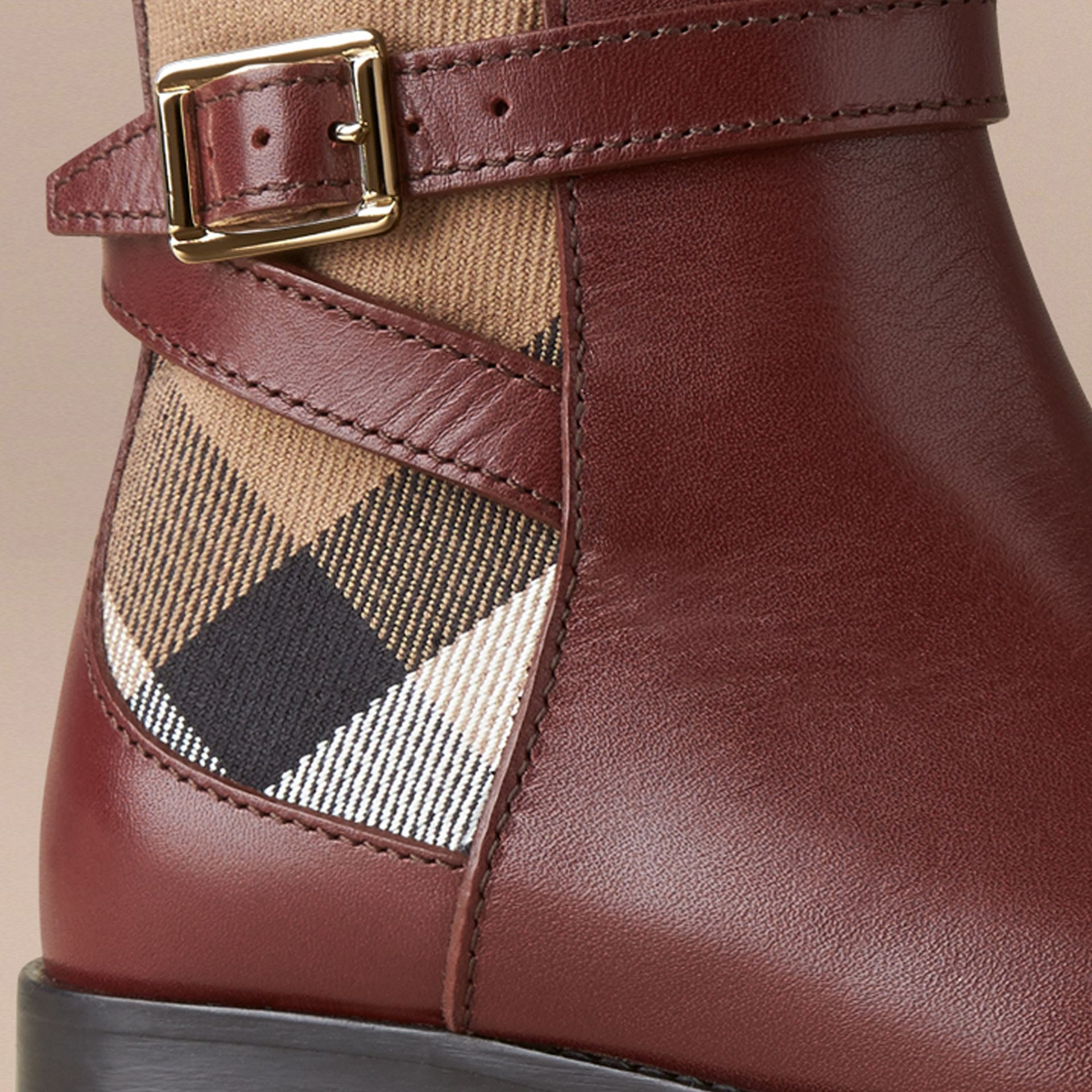 House Check Panel Leather Ankle Boots in Chestnut - Girl | Burberry - gallery image 2
