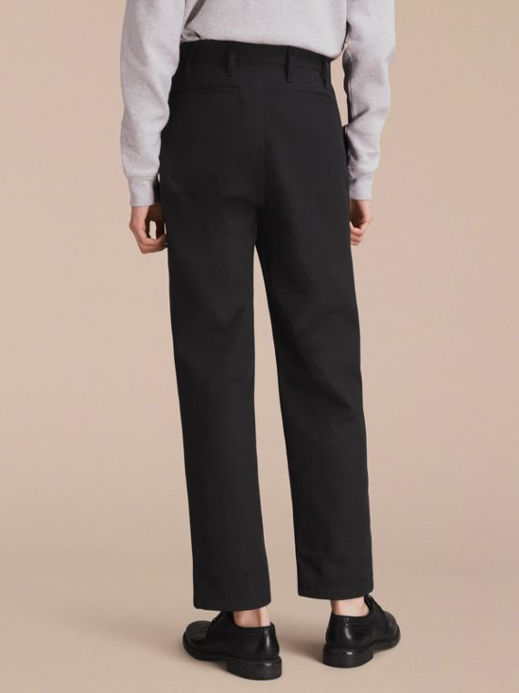 Cotton Twill Cropped Workwear Trousers - Men | Burberry - cell image 2