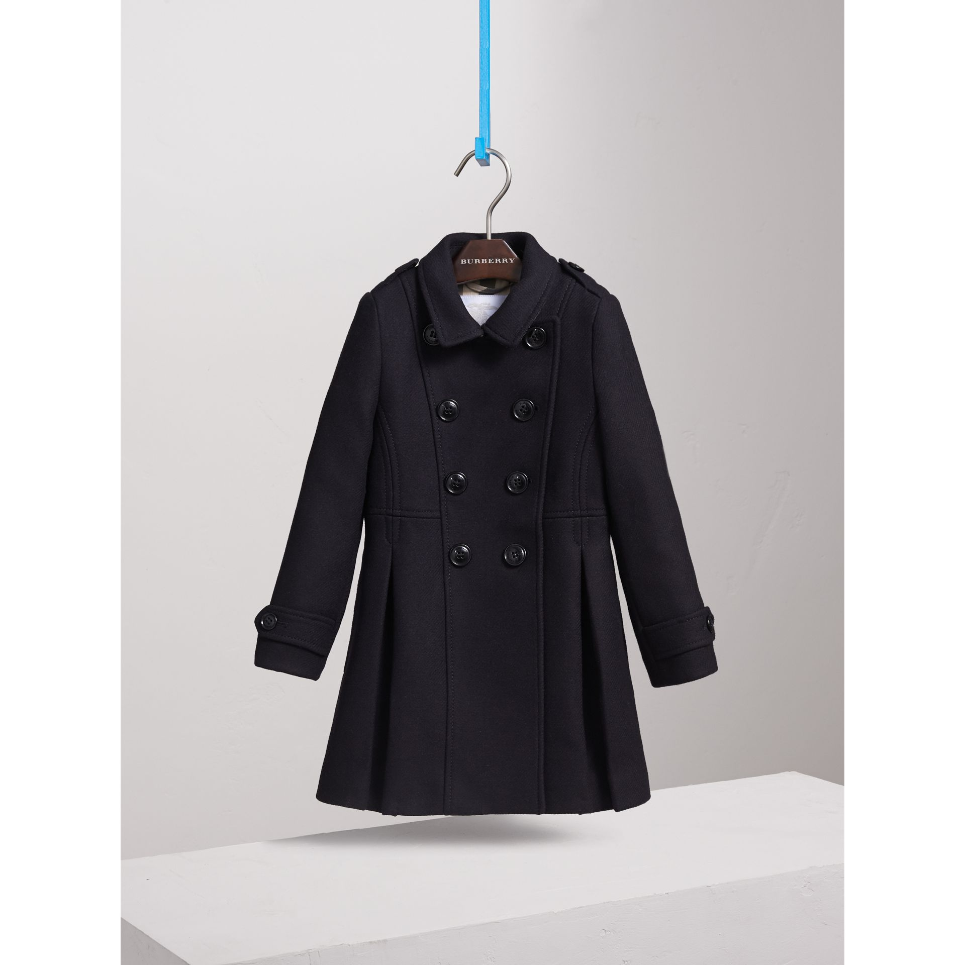 Technical Wool Cashmere Double-Breasted Coat in Navy - Girl | Burberry Singapore - gallery image 3