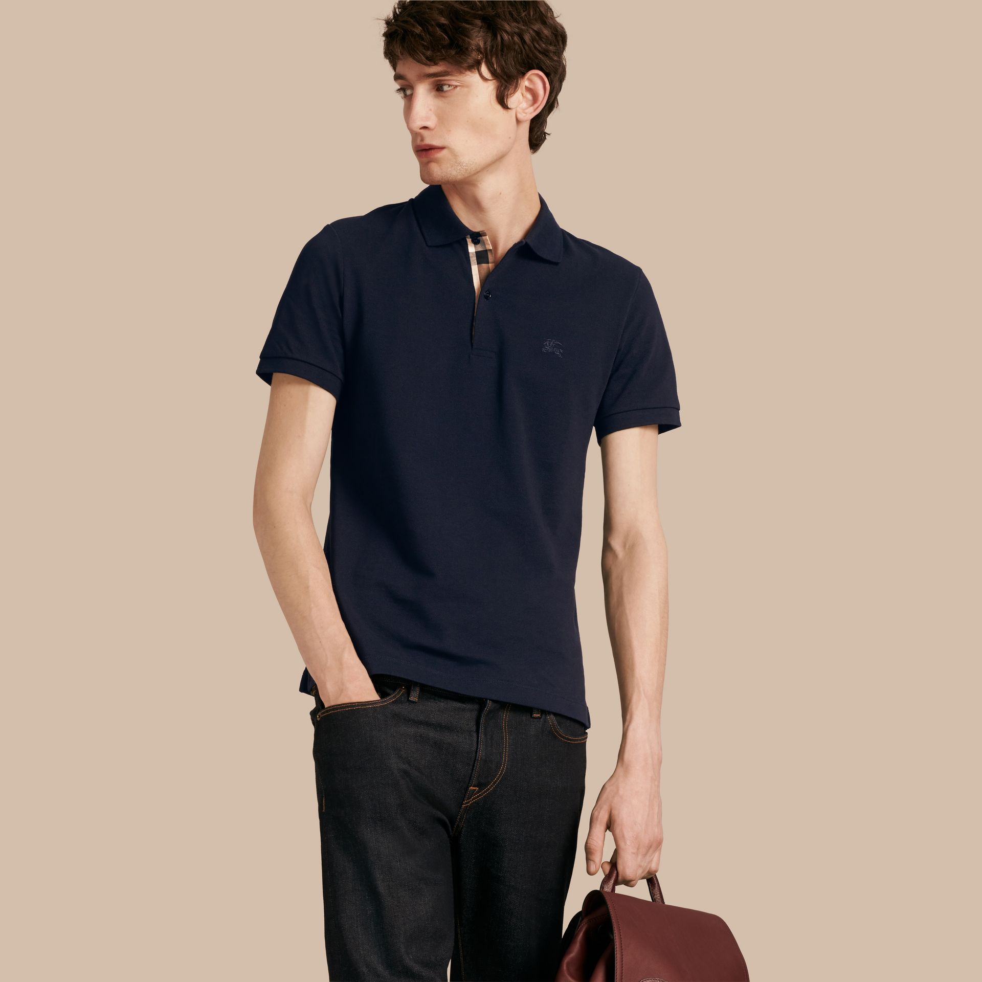 Dark navy Check Placket Cotton Piqué Polo Shirt Dark Navy - gallery image 1
