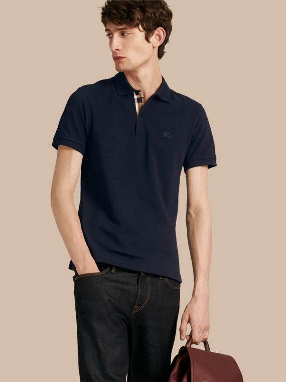 Check Placket Cotton Piqué Polo Shirt Dark Navy