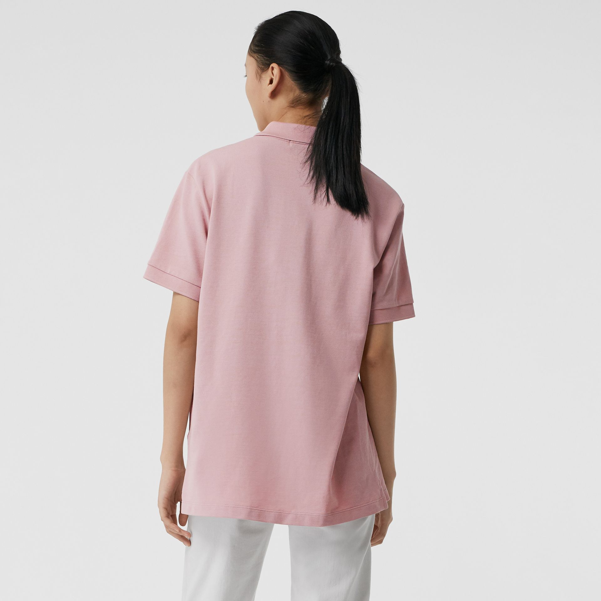 Check Placket Cotton Piqué Polo Shirt in Chalk Pink - Women | Burberry - gallery image 2