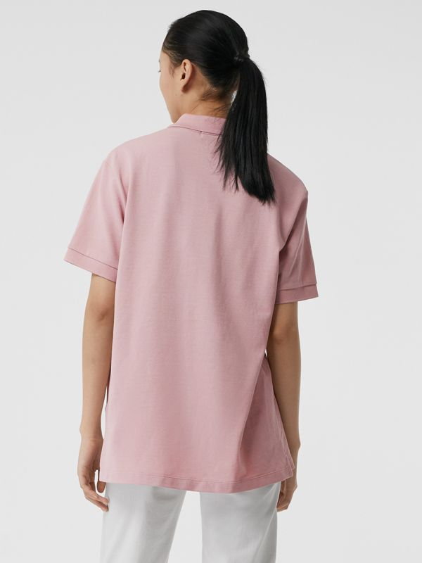 Check Placket Cotton Piqué Polo Shirt in Chalk Pink - Women | Burberry - cell image 2