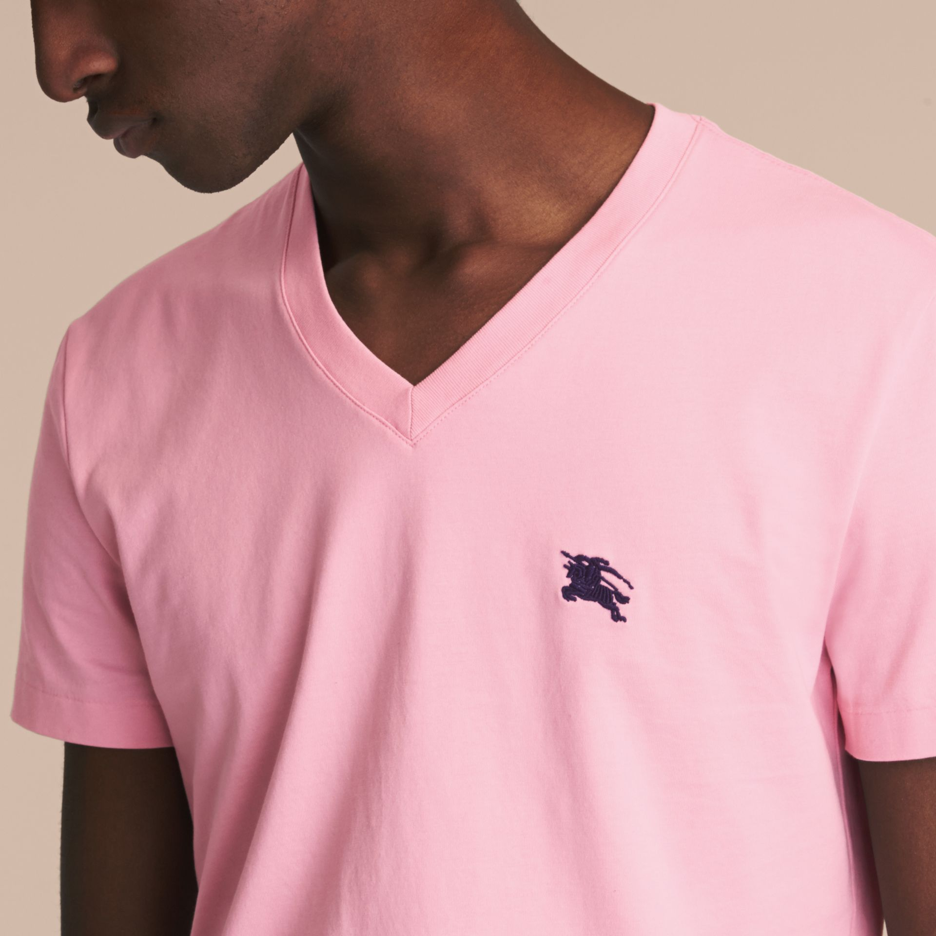 Cotton V-neck T-shirt in Light Pink - Men | Burberry - gallery image 4