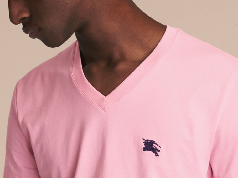 Cotton V-neck T-shirt in Light Pink - Men | Burberry - cell image 4
