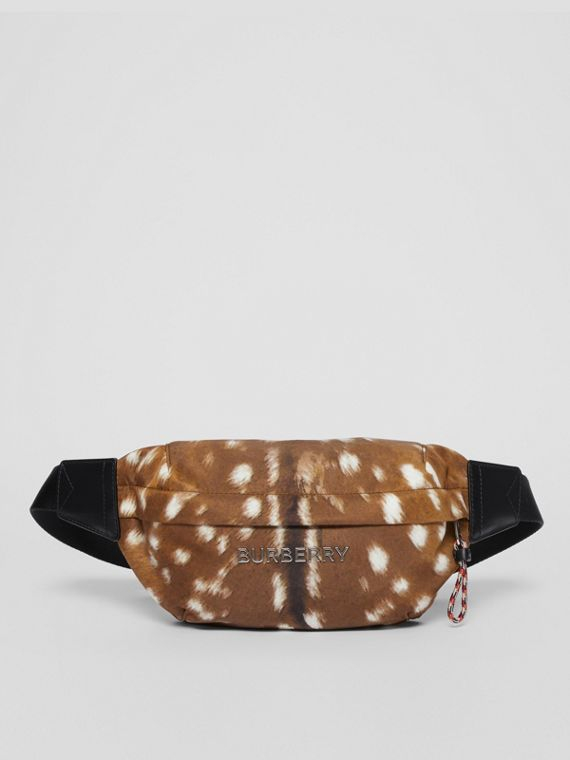 Medium Deer Print Bum Bag in Tan/white