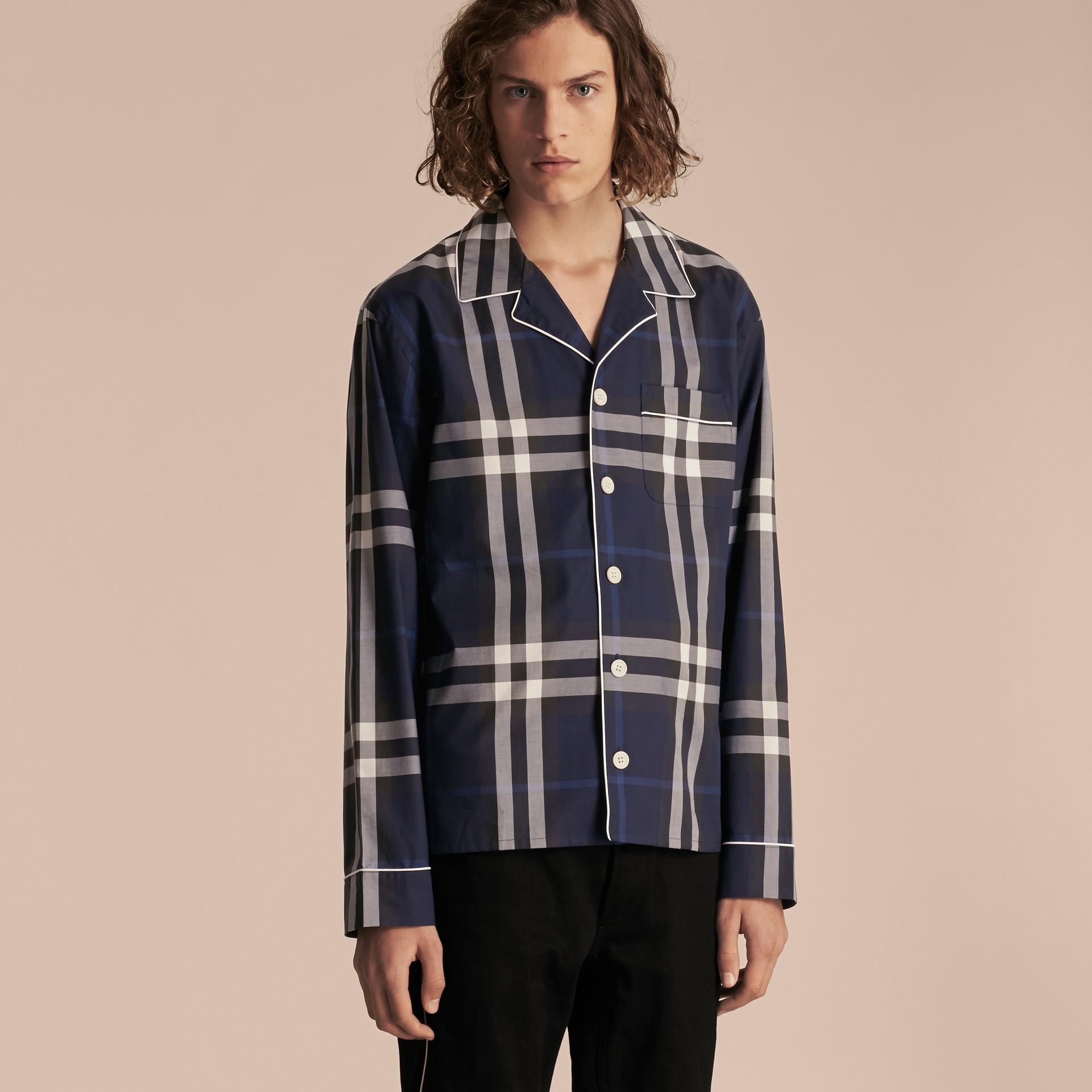 Indigo blue Check Cotton Pyjama-style Shirt Indigo Blue - gallery image 6