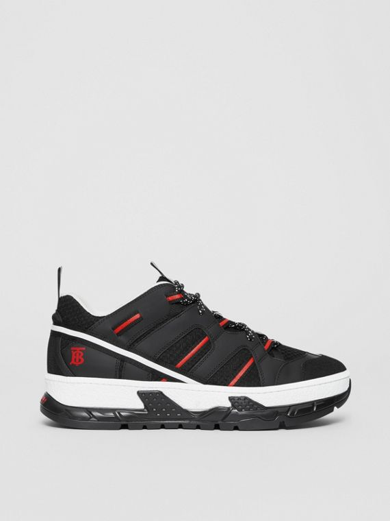 Mesh and Nubuck Union Sneakers in Black/red