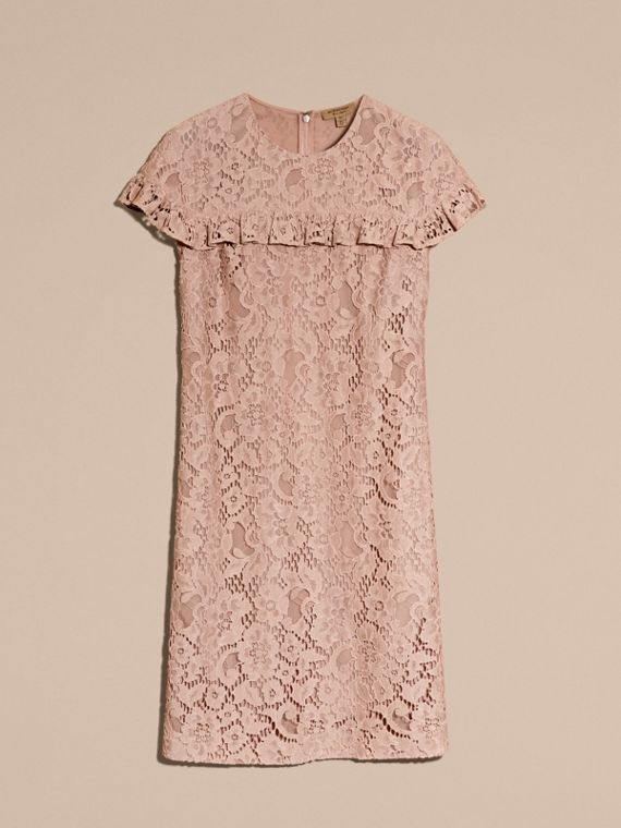 Nude Mid-length Lace Shift Dress with Ruffle Detail - cell image 3