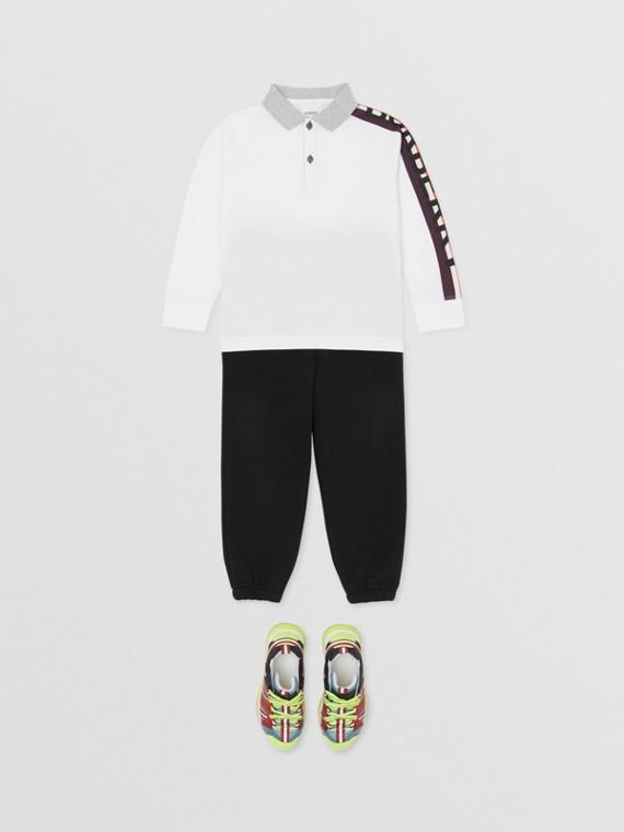 長袖標誌印花棉質 Polo 衫 (白色)