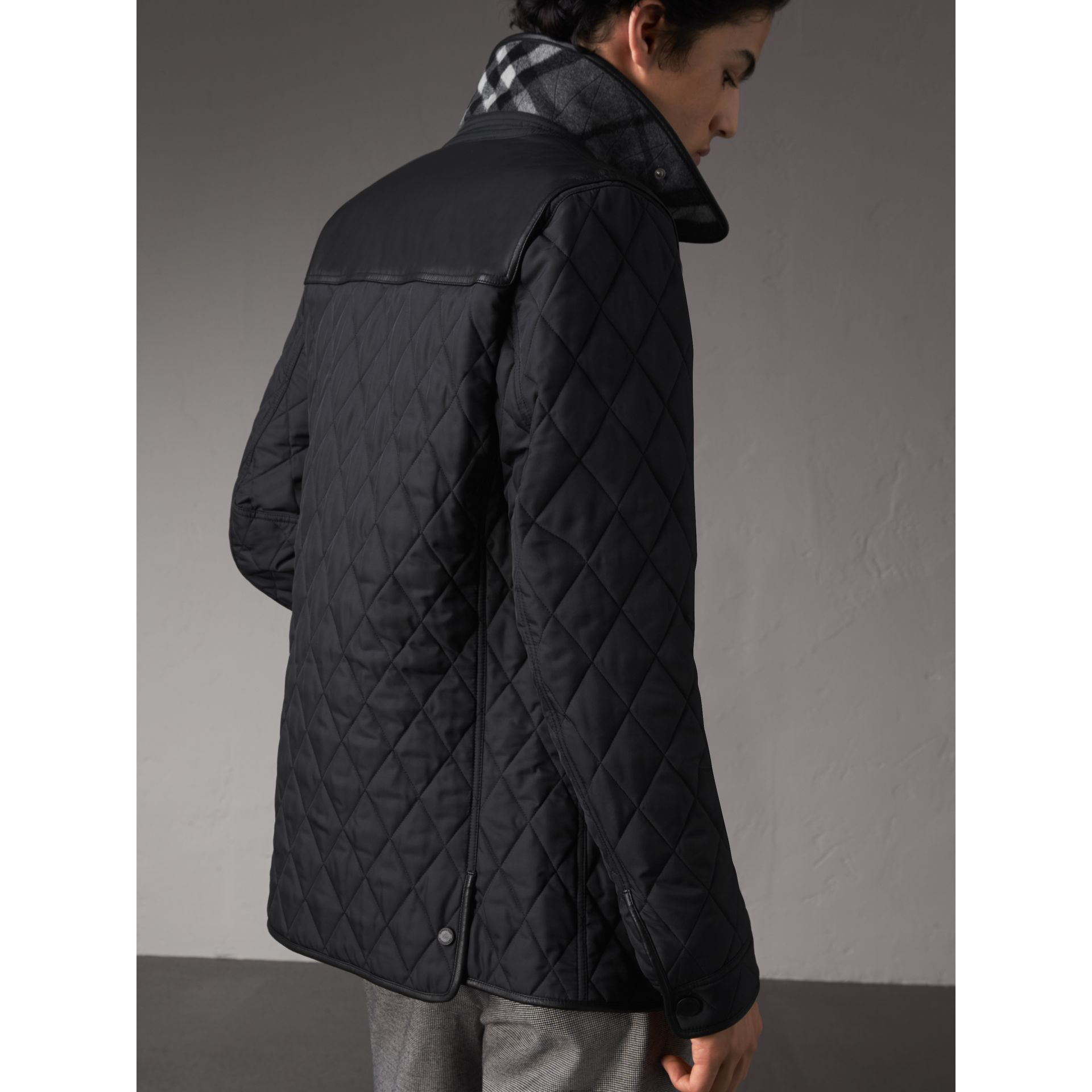 Lambskin Yoke Diamond Quilted Jacket in Black - Men | Burberry - gallery image 3