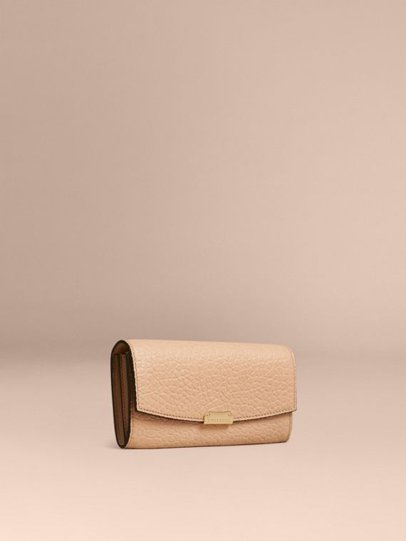 Signature Grain Leather Continental Wallet Pale Apricot