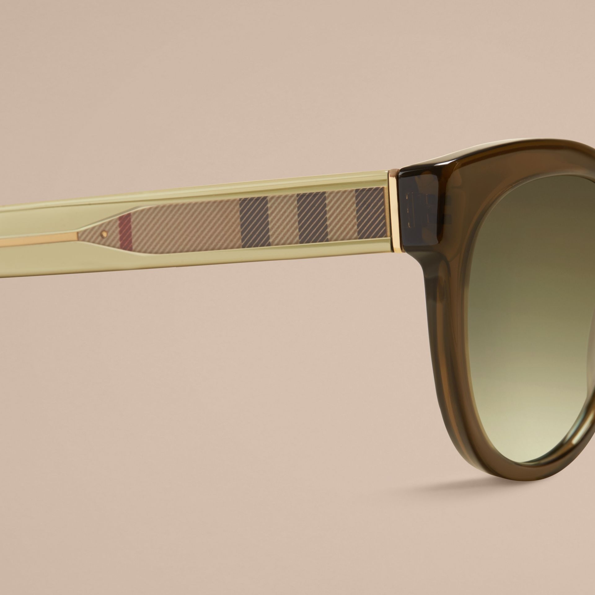 Olive Check Detail Oval Sunglasses Olive - gallery image 2