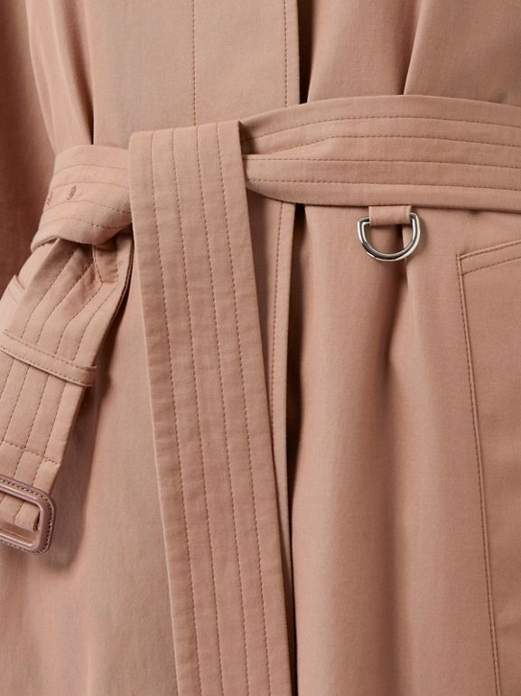 Tropical Gabardine Belted Car Coat in Pink Apricot - Women | Burberry Australia - cell image 1