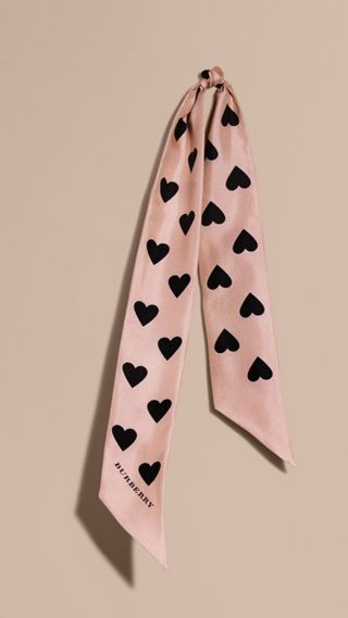Heart Print Slim Silk Scarf