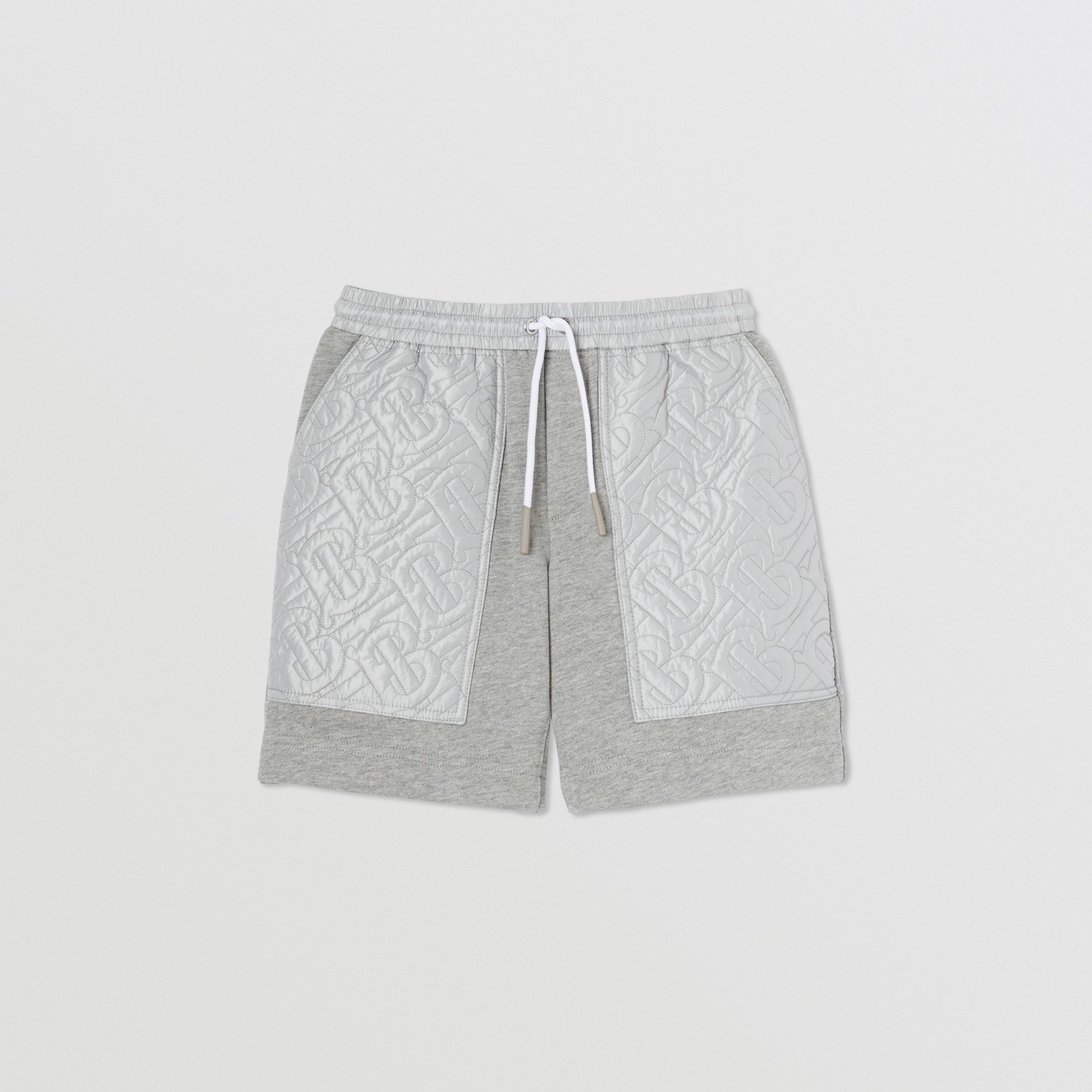 Monogram Quilted Panel Cotton Shorts in Grey Melange | Burberry - 1