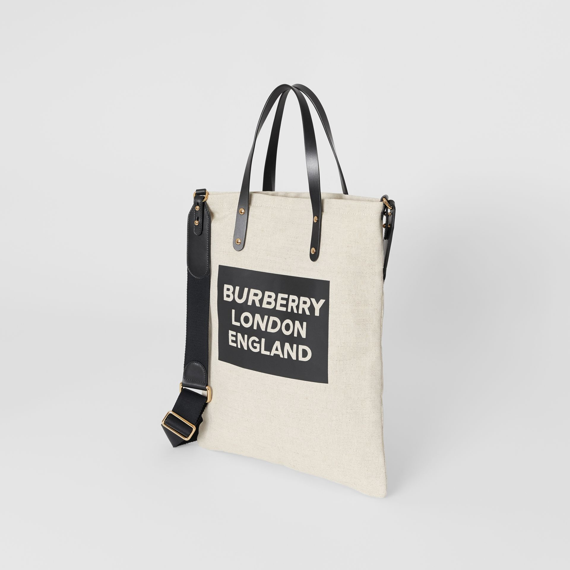 Logo Cotton Canvas Tote Bag in Natural | Burberry - gallery image 3