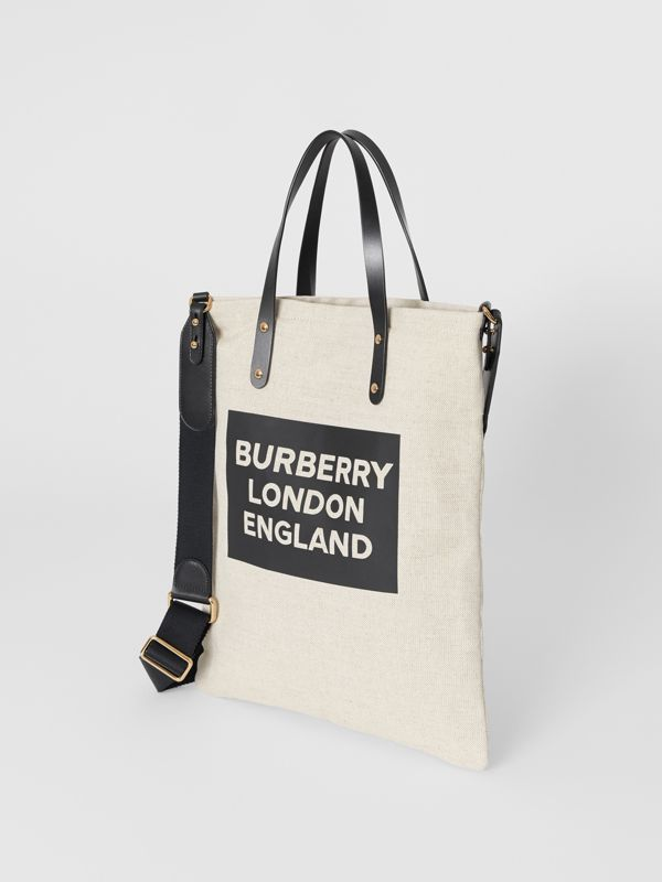 Logo Cotton Canvas Tote Bag in Natural | Burberry - cell image 3