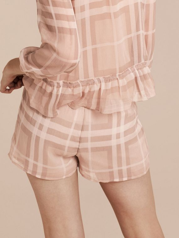 Tonal Check Silk Crepon Shorts Nude - cell image 2