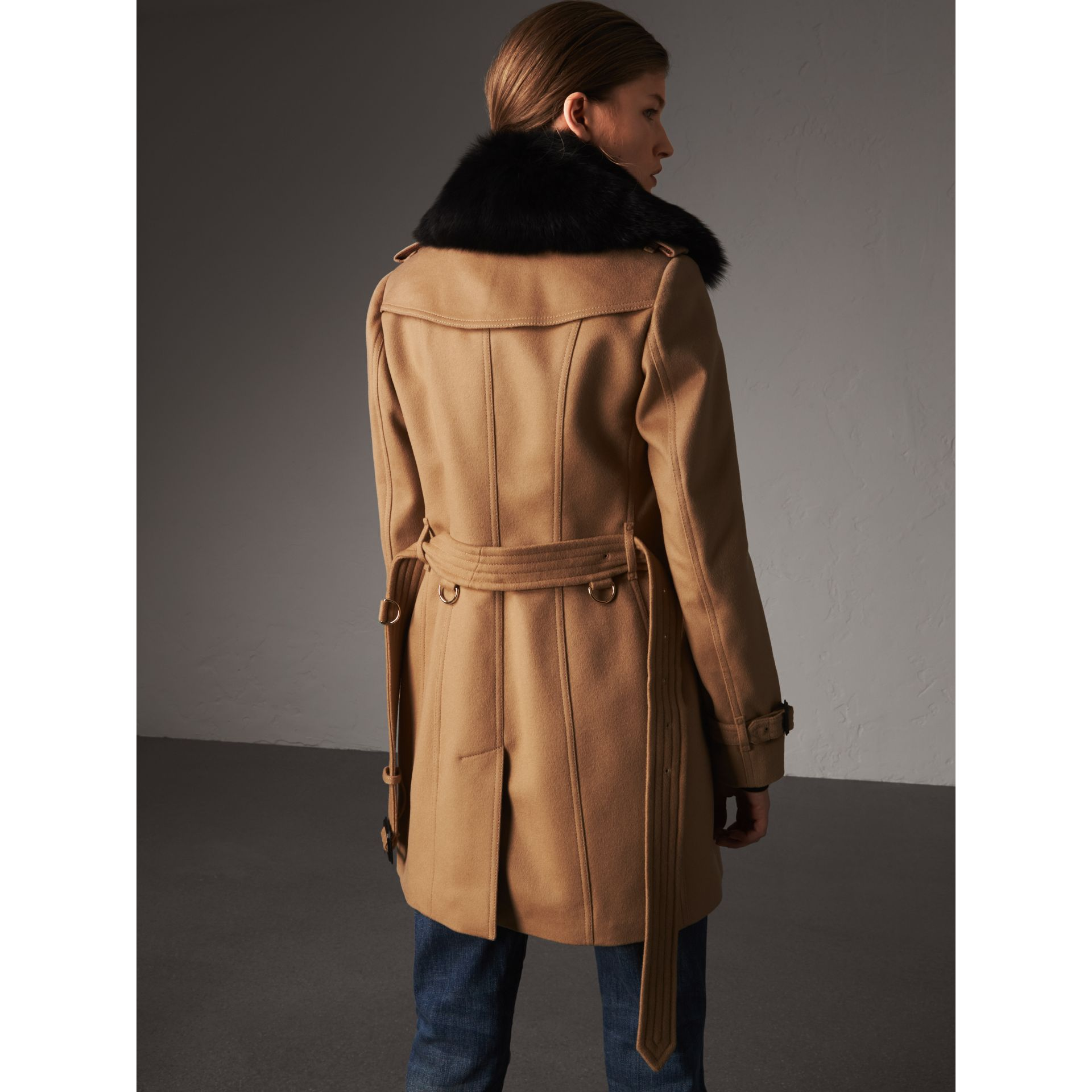 Wool Cashmere Trench Coat with Fur Collar in Camel - Women | Burberry - gallery image 3