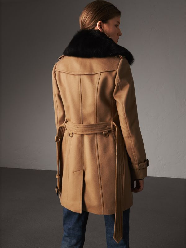 Wool Cashmere Trench Coat with Fur Collar in Camel - Women | Burberry - cell image 2