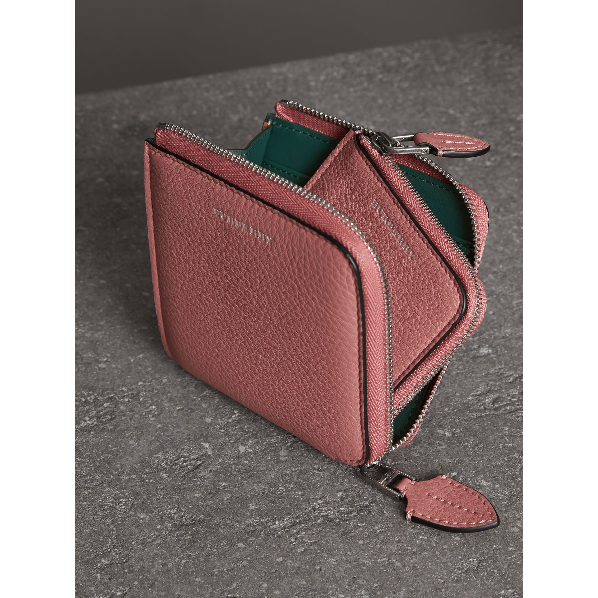 Grainy Leather Square Ziparound Wallet in Dusty Rose - Women | Burberry United Kingdom - gallery image 3