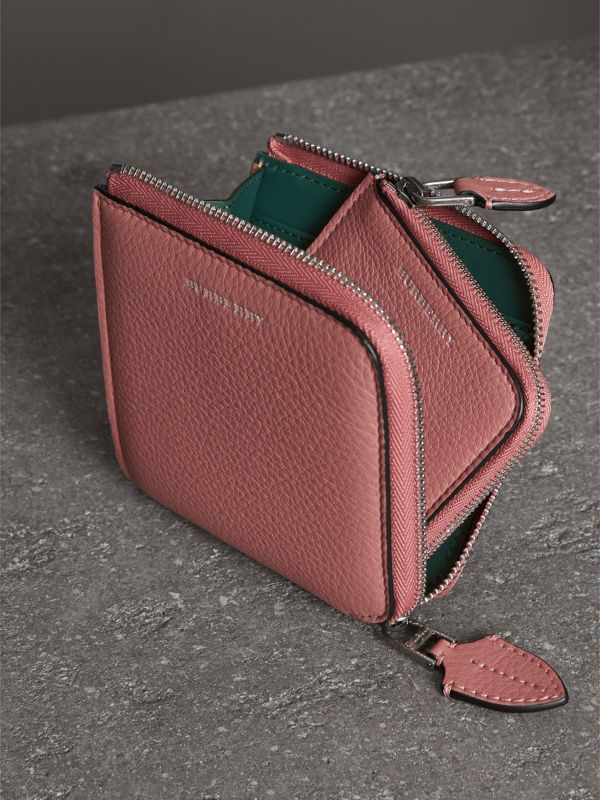 Grainy Leather Square Ziparound Wallet in Dusty Rose - Women | Burberry - cell image 3