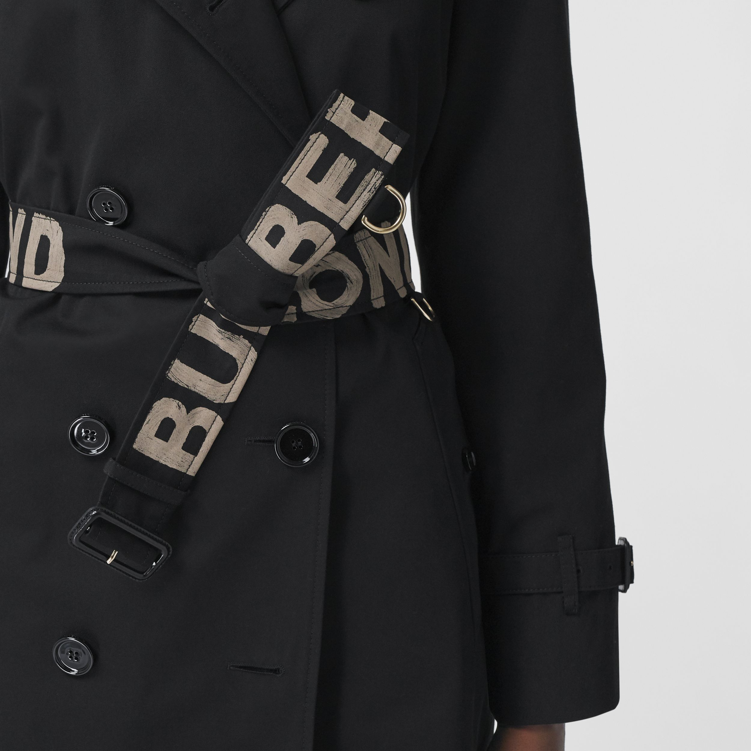 Logo Print Cotton Gabardine Trench Coat in Black - Women | Burberry - 4