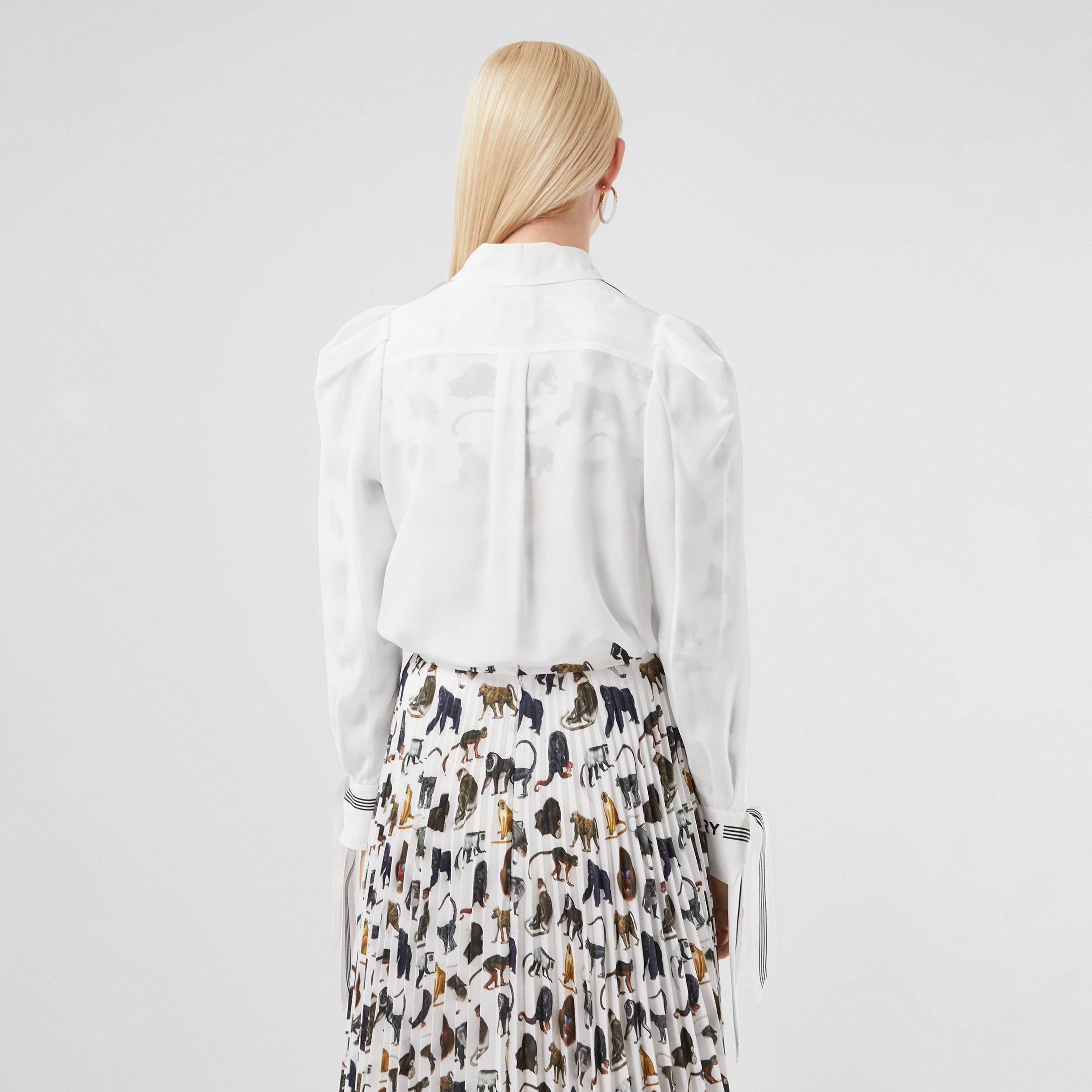 Logo Print Silk Crepe De Chine Shirt in White - Women | Burberry United Kingdom - 3