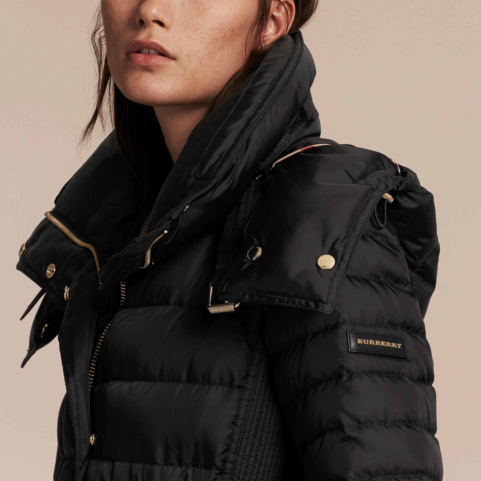 Down-filled Puffer Jacket with Packaway Hood in Black - Women | Burberry - gallery image 5