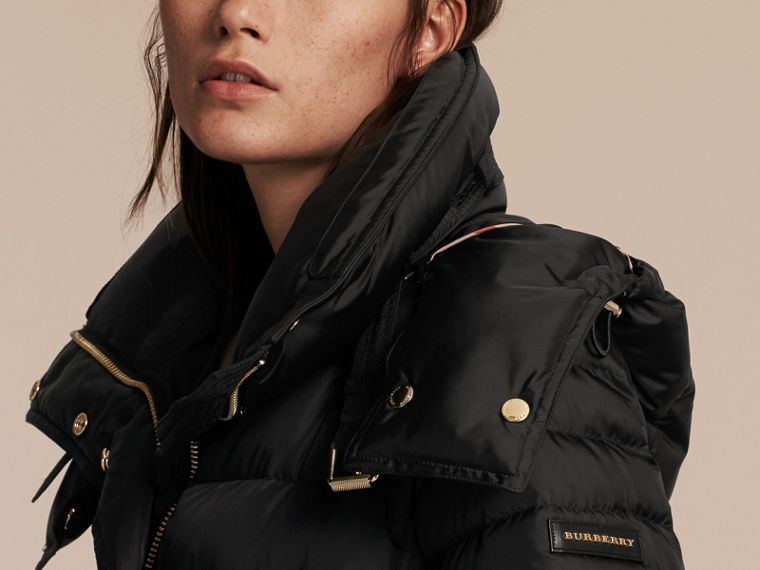 Down-filled Puffer Jacket with Packaway Hood in Black - Women | Burberry - cell image 4