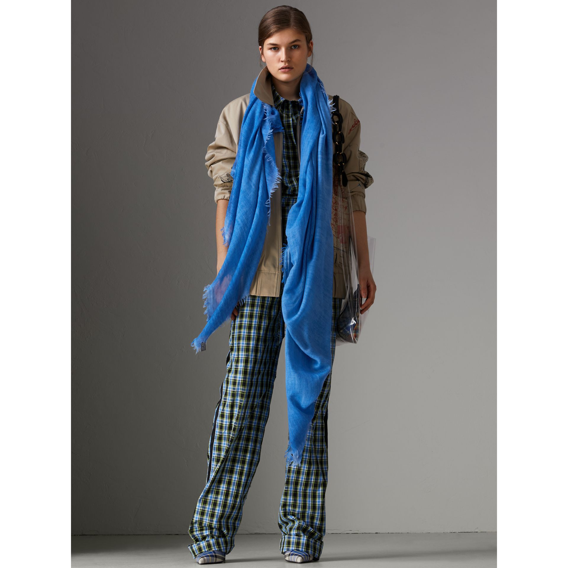 Embroidered Cashmere Cotton Scarf in Azure Blue | Burberry United Kingdom - gallery image 2