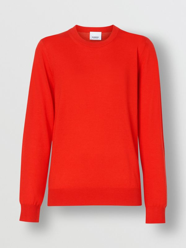 Vintage Check Detail Merino Wool Sweater in Vermillion - Women | Burberry - cell image 3