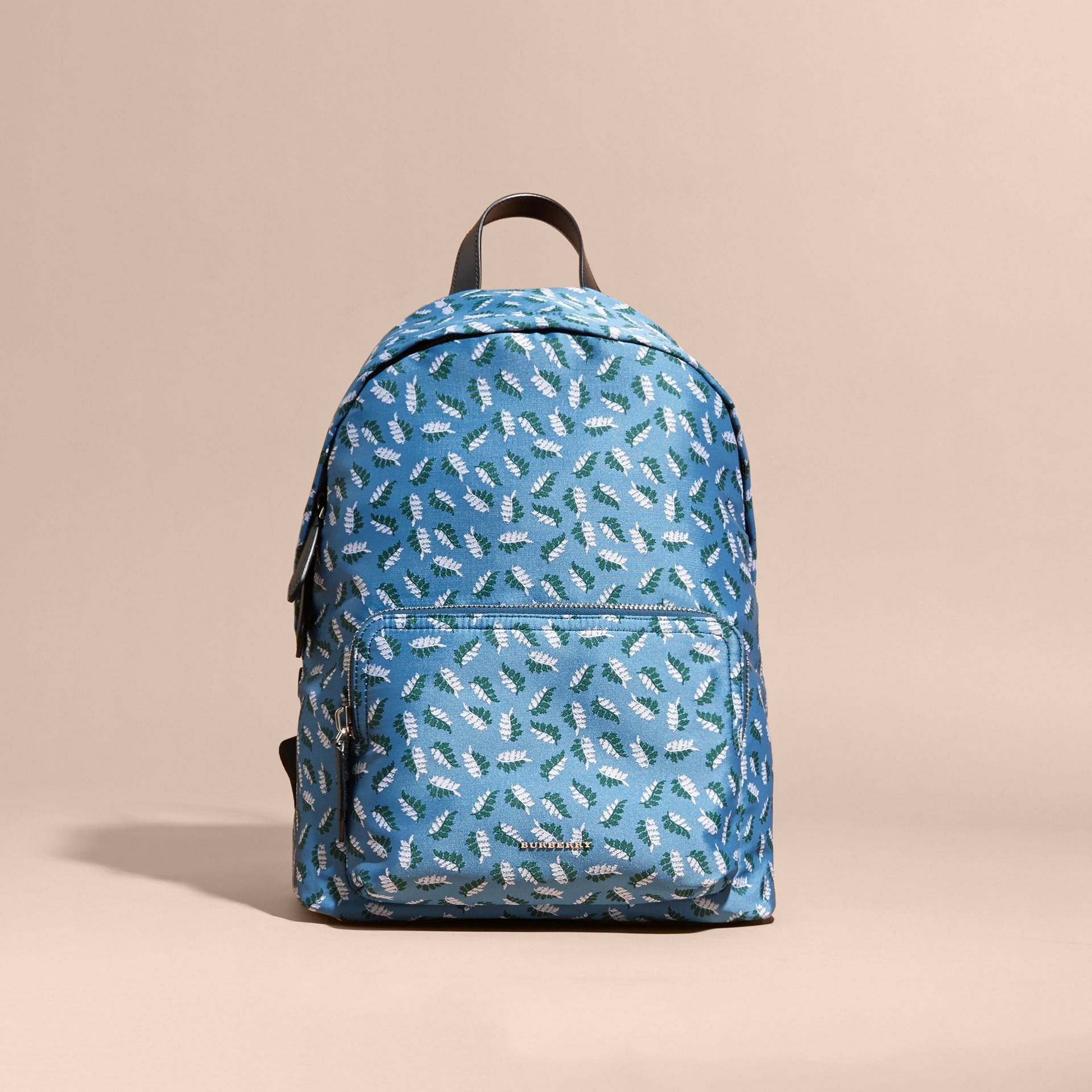 Deep cerulean blue leaf Leaf Jacquard Backpack - gallery image 8