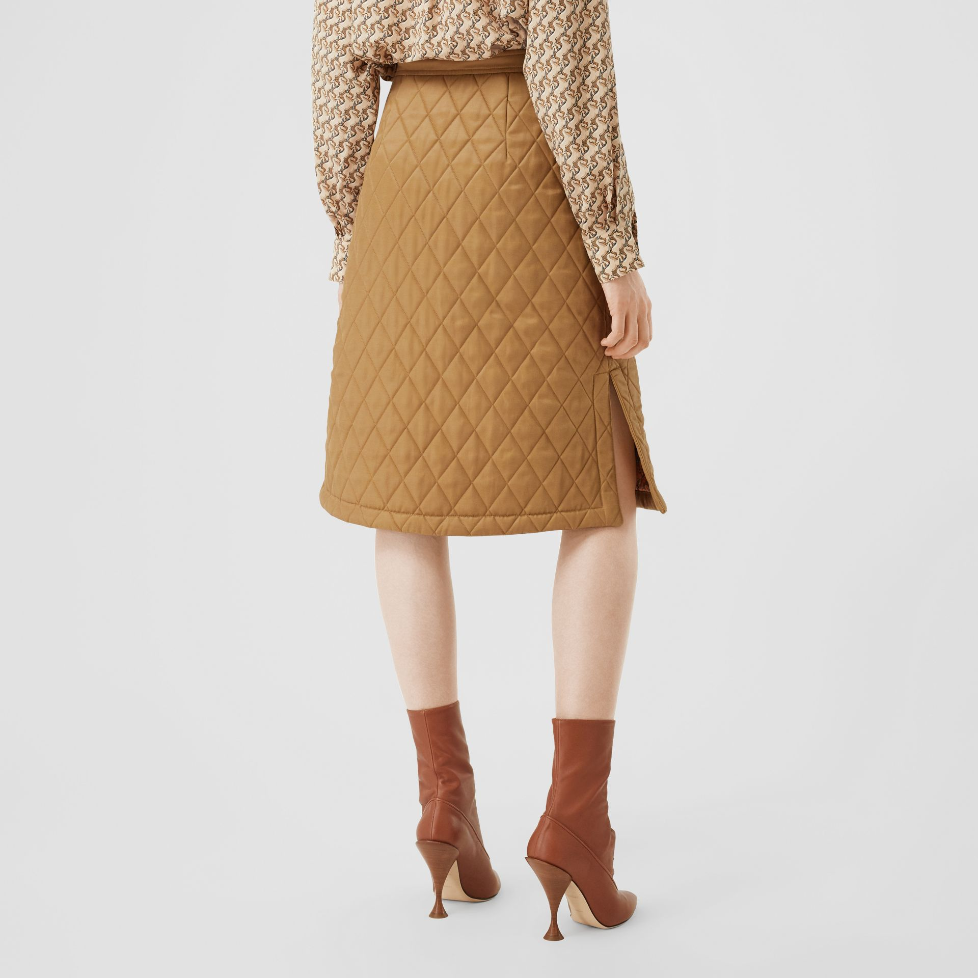 Diamond Quilted Twill A-line Skirt in Camel | Burberry United Kingdom - gallery image 2