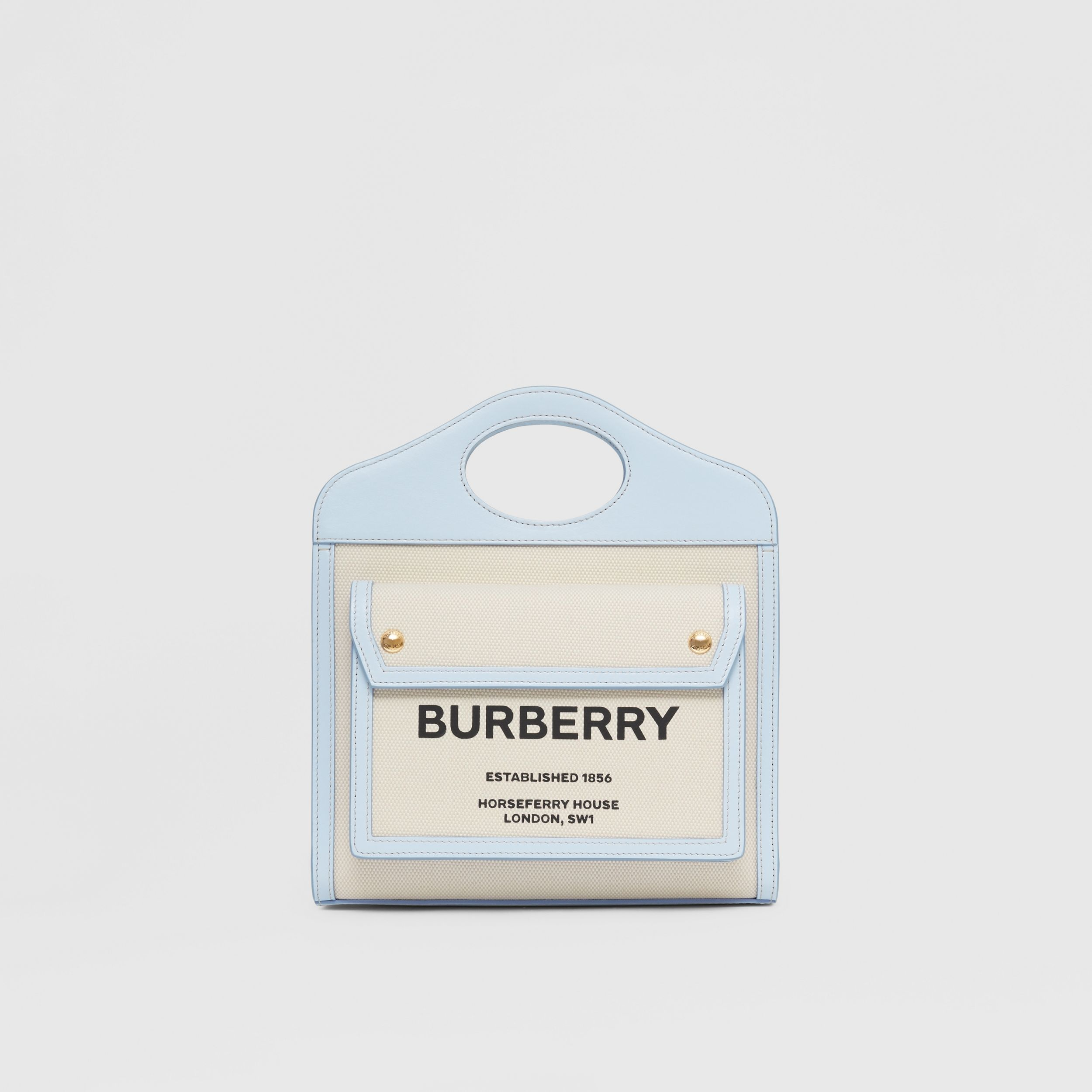 Mini Two-tone Canvas and Leather Pocket Bag in Natural/pale Blue - Women | Burberry United Kingdom - 1