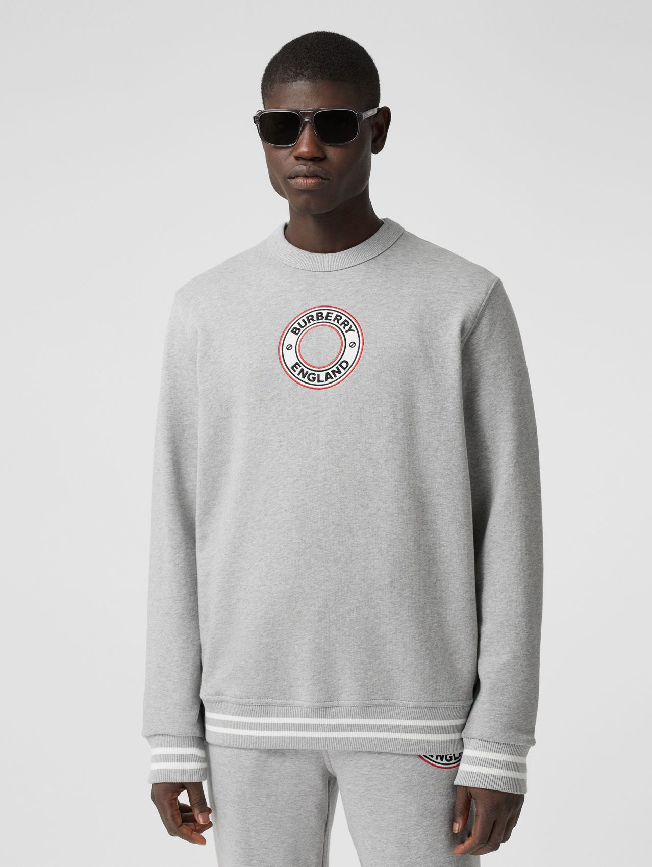 Logo Graphic Appliqué Cotton Sweatshirt in Pale Grey Melange