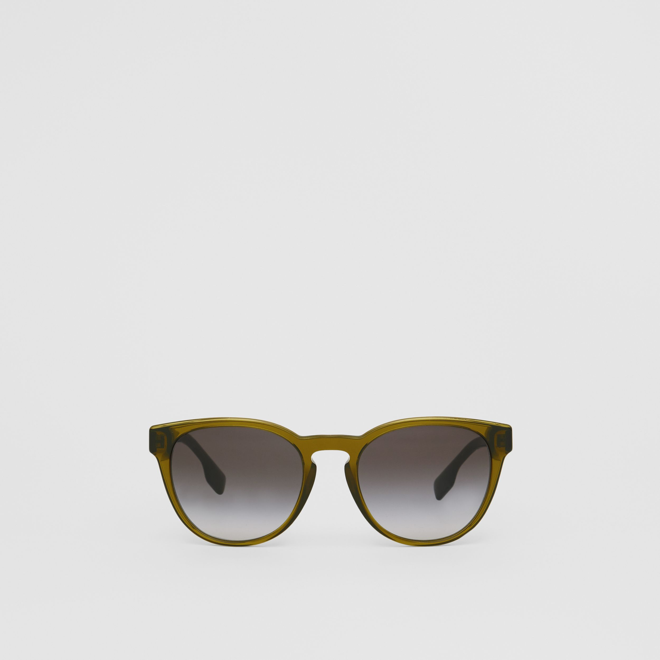 Round Frame Sunglasses in Olive - Men | Burberry - 1