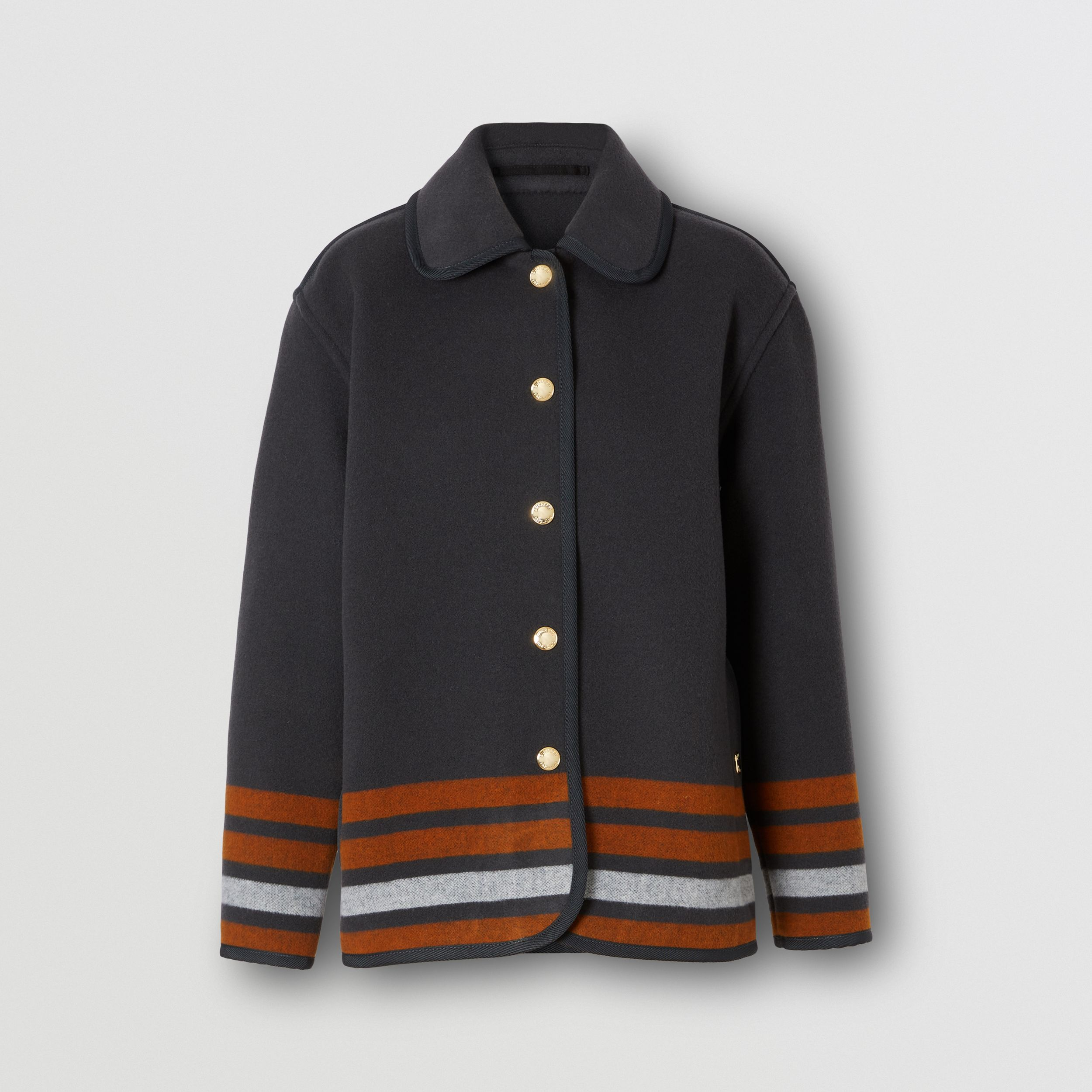Striped Wool Jacket in Mid Grey - Women | Burberry - 4